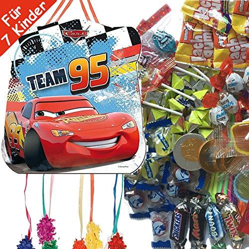 Pinata Set: * Cars * mit Pinata + 100-teiliges Süßigkeiten-Füllung No.1 von Carpeta© // Spanische Zugpinata für bis zu 7 Kinder. Tolles Spiel für Kindergeburtstag