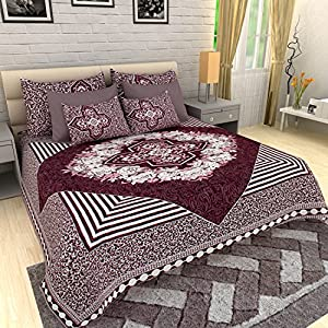 AUTHENTIC VOGUE Two in One Double Bed Quilt & King Size Double Bed Sheet with 2 Designer Pillow Covers-(Purple Colour…