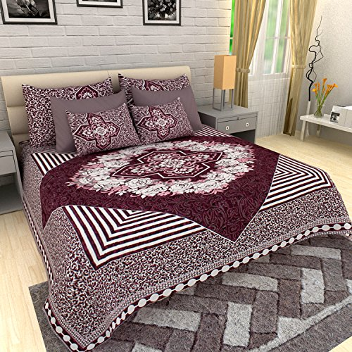 AUTHENTIC VOGUE High Quality Two in One Double Bed Quilt & King Size Double Bed Sheet with 2 Designer Pillow Covers-(Purple Colour) / Size: 100×100 inches (254cm×254cm)