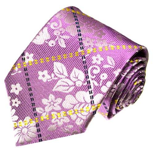 LORENZO CANA - Marken Luxus Krawatte aus 100% Seide - Seidenkrawatte rose rosa gold floral blumig - 42051 (Nadelstreifen Mantel Anzug)