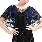 ArtiDeco 1920er Jahre Retro Schal Umschlagtücher für Abendkleider Stola für Hochzeit Party Gatsby Kostüm Accessoires (Blau Schwarz)