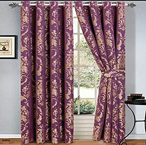 Luxury Jacquard Curtains Pair Fully Lined Ready Made Ring Top With Free Tie Backs And P&P (90 X 72, Purple)