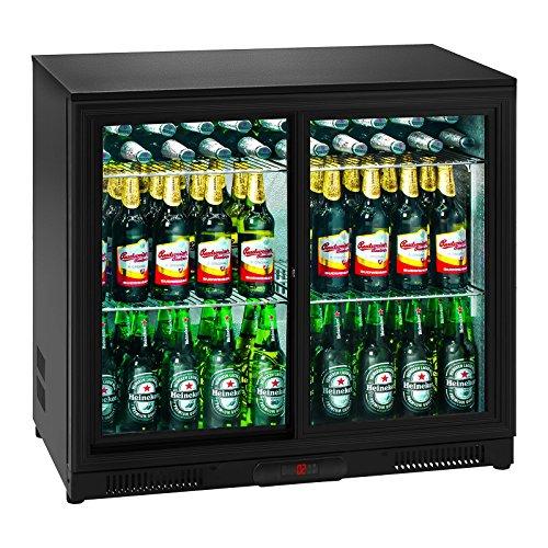 Royal Catering RCGK-208C Minibar Kühlschrank Getränkekühlschrank Flaschenkühlschrank mit Glastür (208 L, 2-10 °C, abschließbare Schiebetüren, Doppelglas, LED Beleuchtung, Schwarz) - Kühlschrank Mit 2 Schiebetüren