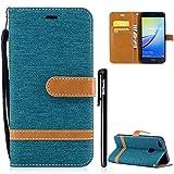 Huawei P10 Lite Hülle,BtDuck Denim PU Leder Dünn Tasche Leder Stand Brieftasche Damen Weich Silikon Back Cover Hülle mit