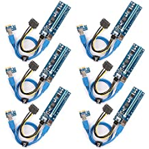 PCI-E Riser 6-PCS Ubit Mining Dedicated Graphics Card PCI-E Riser 1X to 16X Riser Card 164P / 60cm USB 3.0 Extension Cable & MOLEX to SATA Power Cable(6-PCS,6pin)