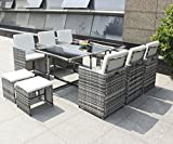 Hansson.Sports Polyrattan Poly Rattan Gartenmöbel Sitzgruppe Lounge Gartenset Garnitur aus 1 x Tisch, 6 x Stuhl und 4 x Hocker (Rattan:Hellgrau)
