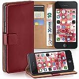 moex iPhone 4S | Hülle Dunkel-Rot mit Karten-Fach 360° Book Klapp-Hülle Handytasche Kunst-Leder Handyhülle für iPhone 4/4S Case Flip Cover Schutzhülle Tasche