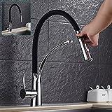 Single Lever Kitchen Sink Mixer Taps Black Faucet 360° Swivel Spout Chrome Brass