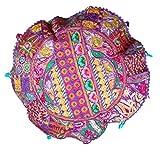 RASTOGI Kunsthandwerk Meditation Kissen–Indian Pouf Bio Baumwolle–Old Sari Patch Work Ombre Yoga Decor Kissen für rund Kreis violett