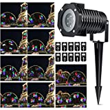 KING DO WAY LED Landscape Projector Lights Indoor/Outdoor Moving Flood Lights with 10 Pcs Pattern Lens Snowflake Snowman Waterproof of IP44 for Garden Christmas Patio House Party Decoration