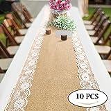 Daiiwwo Chemin de Table en Toile de Jute avec Dentelle 30 x 275 cm Toile de Jute Cousues à Décorations de Table (10 Pcs)