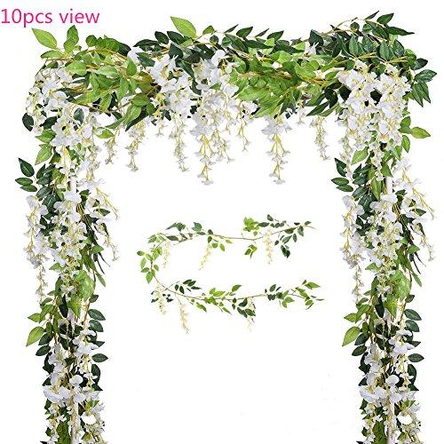 Blumen 2 U (U-yaya Künstliche Blumen 2Seide Wisteria Ivy Vine 6.6ft/PC Grün Leaf Hängende Girlande Vine für Hochzeit Party Hause Garten Wand Dekoration Weiß)