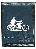 Pochette Etui Petit Portefeuille Homme, porte monnaie, cartes, papiers Moto Harley personnalisé avec prenom ou surnom