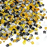 Toyvian 50.º Confeti 3 Bolsos Número Confeti 50.o Cumpleaños Fiesta Confeti Lámina metálica Confeti Dorado Plata Negro Mesa Confeti para decoración de Fiesta