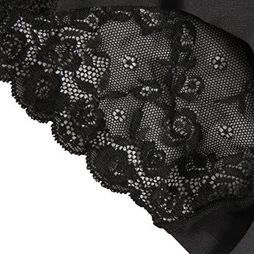 Sidiou Group Culotte en dentelle pour femme, de une pièce, Culotte sexy sans marque en la ceinture moitiée pour augmenter la fesse et rétrécir l'abdomen, slips en grand taille avec la fourche de coton Noir