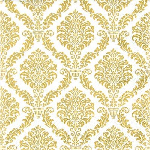 20 kleine Cocktail Servietten Muster gold / Hochzeit / Fest / Feier 25x25cm (Cocktail Servietten Gold)