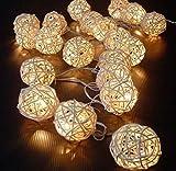 Mecohe 5M 20 LED Luce Bianco Caldo, Rattan Palla Stringa LED di Luce per Natale, Nozze, Fata, Festa - Luce Decorativa per la Casa