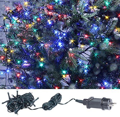 Lunartec außen Deko Weihnachten: LED-Lichterkette mit 40 LEDs für innen & außen, IP44, 4-farbig, 4 m (Lichterkette Kerzen)