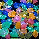 ounona 60pcs Colorful Pebble Conch Shell Glow Steinen in the Dark für Aquarium Fisch Tank (unterschiedliche Farbe)