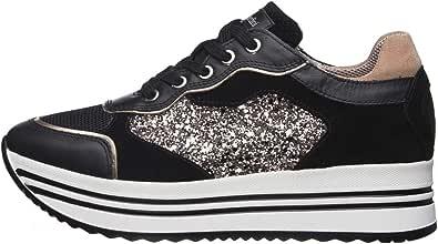 Nero Giardini E010569D Sneakers Donna in Pelle, Camoscio E Tela