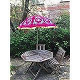 Garten Samt Pink Grün Sonnenschirm Handgefertigt Bestickt Indischen Outdoor  Sonne Schatten Terrasse Regenschirm 119,4