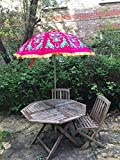 Garten Samt Pink Grün Sonnenschirm handgefertigt bestickt indischen Outdoor Sonne Schatten Terrasse Regenschirm 119,4cm...