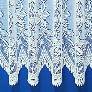 The Textile House Andrea Heavyweight Jacquard Net Curtain in White - Sold by the Metre - 40