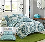 Full/Queen , Green : Chic Home Madrid 4 Piece Reversible Quilt Set Super Soft Microfiber Large Printed Medallion Design with Geometric Patterned Backing Bedding Set with Decorative Pillow and Sham, Full/Queen Green