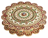 "Lavender Craft Sunflower Shaped Handmade Meenakari Decorative Platter/ Empty Dry Fruit Box - Big G.M. (12""X12""X2"" Inch)"