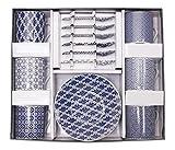 Tokyo Design Studio, Nippon Blue, Expresso Set in dekorativer Geschenkbox, Porzellan Geschirr, 18 - teilig, 6 Personen.