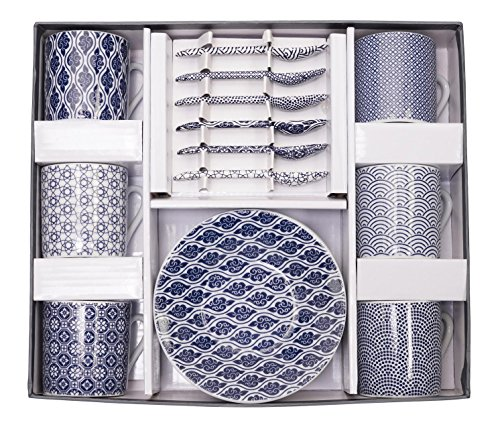 Tokyo Design Studio, Nippon Blue, Expresso Set in dekorativer Geschenkbox, Porzellan Geschirr, 18 -...