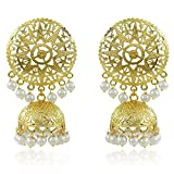 #10: Meenaz Fashion Jewelry Traditional Gold plated Pearl Crystal Jhumki Jhumka Earrings for women party wear stylish designer Wedding Jewellery Necklace Set Ear ring studs for girls- jhumki earrings-196