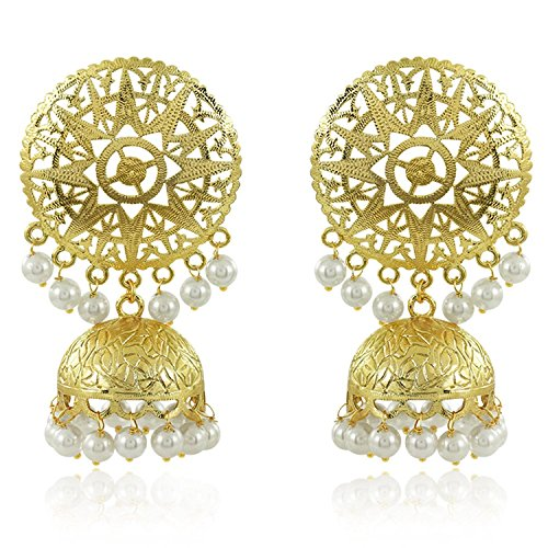 Meenaz Gold Plated Pearl Crystal Jhumki Jhumka Earrings For Women And For...