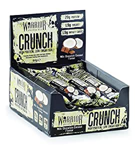 Warrior Crunch High Protein Low Carb Bar, Milk Chocolate Coconut, 64 g, Pack of 12