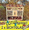 FDV-LOTUS Insektenhotel, mit Lotus-Effekt (Oberfläche WASSERABWEISEND), MIT 2 x BEOBACHTUNGSRÖHRCHEN 8 / 11 mm, komplett mit Zellstoff, insektenhotels mit Holzrinde-Naturdach, FDV-LOTUS-OS XXL viele Farben Insektenkasten farbige Nistkästen Holz Insekte