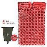 iBasingo Ultraleicht Tragbare 2 Person Schlafmatte mit Kissen Camping Zelt Im Freien Aufblasbare Luftmatratze Feuchtigkeitsdichten Isomatte Schlafen Pad für Picknick Rucksack(rot)