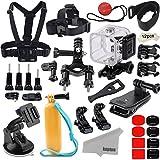 Kupton Zubehör für GoPro Hero 5 Session/Hero Session Bundle Action Camcorder Kamera Zubehör Kit Halterung Wasserdicht Gehäuse Brust Kopf Fahrrad Auto Rucksack Clip Mount