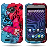 CoverON Slim Hard Case for ZTE Reef N810 with Cover Removal Tool - (Pink Blue Butterfly)