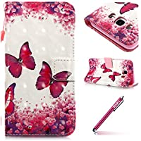 Leather Protective Case for Galaxy J5(2016),Galaxy J5(2016) Flip Wallet Case,Hpory élégant Luxe Creative 3D Design Glitter Strass Painted With Lanyard Strap PU Cuir Case BookStyle Folio Support PU Leather Wallet Case with Magnetic Closure and Stand Function and Credit Card Holder Multifonction de Shell en Soft Silicone Bumber Protector Étui Anti-Poussière Anti-rayures et Shockproof Etui Coquille pour Samsung Galaxy J5(2016) + 1 x Hpory Stylus-(Papillon)