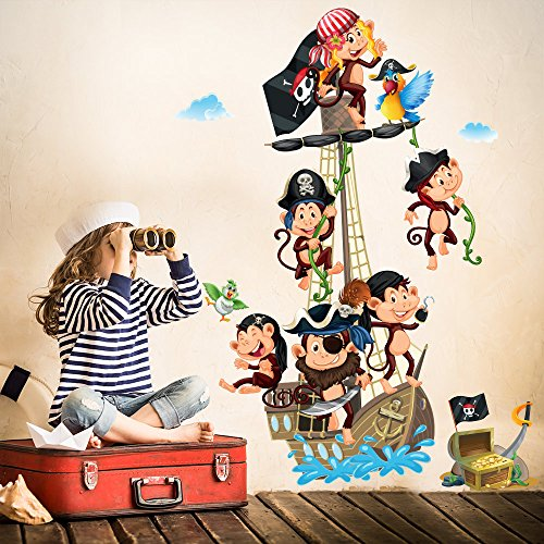 R00383 Adesivo murale per bambini Wall Art - Scimmiette all'arrembaggio - Misure...