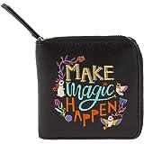 Chumbak Make Magic Happen Embroidered Black Mini Wallet for Women.
