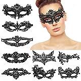 Lace Masquerade Mask, MMTX 8 Piezas estilo veneciano elegante Mascarade Eyemask mujeres Lady Girl Sexy Eye Mask para Halloween San Valentín fiesta de carnaval baile de disfraces, negro
