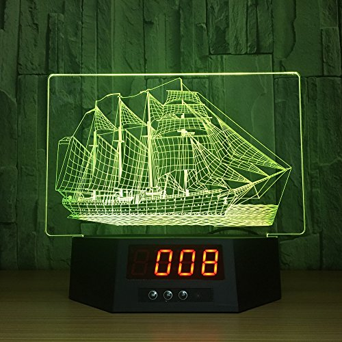 SQL 3d Colorful Touch Temote Night Light LED Acrylic Multi-function (Date and time temperature) Light