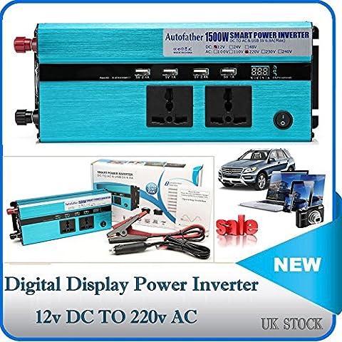 Affichage numérique de voiture Power Inverter DC 12 V vers AC 110 V Charger convertisseur 1500 W avec prises de courant et ports USB pour téléphone portable GPS DVD MP3