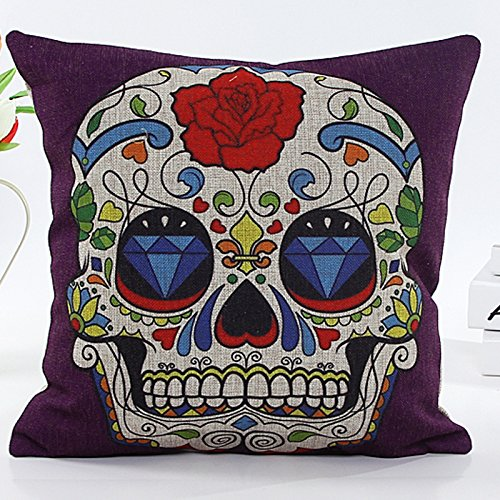 L&J ART Kissenbezug, Retro-Stil, Vintage, Sugar Skull Blumen, Leinen, 45,7 cm, Violett (Sugar Skull Art)