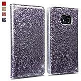 OKZone Galaxy S7 Edge Hülle, Luxus Glitzer Bling PU Leder Brieftasche-Stil Magnetisch Folio Flip Etui Brieftasche Hülle Schutzhülle Tasche Case für Samsung Galaxy S7 Edge (Silber Grau)