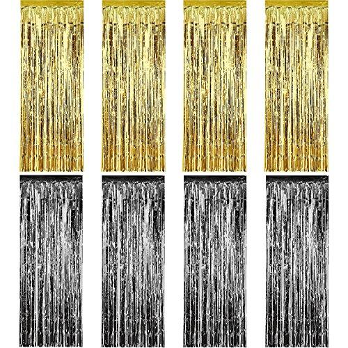 Sumind 8 Packung Folie Vorhänge Fringe Vorhänge Lametta Hintergrund Metallic Vorhänge für Geburtstag Hochzeit Foto Booth Dekorationen (Gold und Schwarz)
