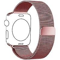 Cinturino Apple Watch 38mm Oro Rosa, PUGO TOP® Loop in Maglia Milanese Acciaio Inossidabile con Chiusura Magnetica Regolabile Bracciale Strap Band for Apple Watch Series 1/Apple Watch Series 2 (38mm Oro Rosa)