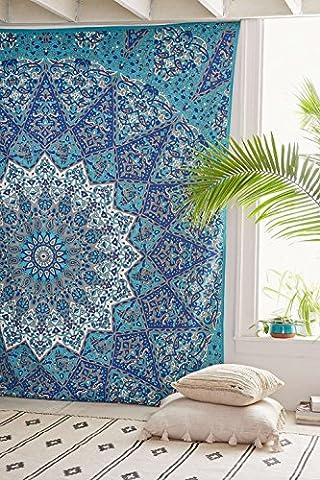 Star-s COR'Mandala Wandbehang, Motiv Indische Betttuch, Coverlet, Picknick, Strand, hochwertige Qualität Hippie-Motiv und Tagesdecke, aus organischer Baumwolle, Motiv: Baum des Lebens, 90 x 85 cm