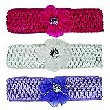 Crochet Cutwork Flower Baby Headband (White, Pink, Purple) 3 Pcs Set (Muticolor1)